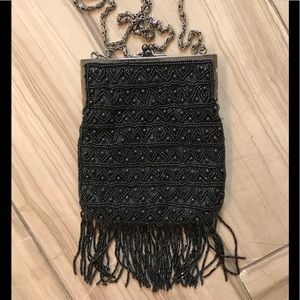 Handbags - 💋HP!💋Kiss Lock Beaded w Fringe Evening Bag Black